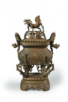 Bronze censer with handles in the shape of bamboo, Vietnam, beginning sec. XX  h. cm.43