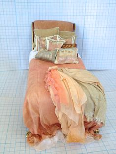 Bed Bespaq Dressed in Shades of Peach  by by PatTylerMiniatures, $249.00