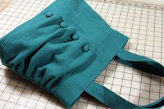 Ruffled Flap Handbag with Buttons in Dark Turquoise Green