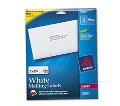 Avery White Mailing/Shipping Labels, Laser 350 qty. for about $12