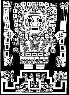 """Arte Tiahuanaco Dios Wiracocha Descripción: Viracocha es una representación del """"Dios de Báculos o Varas"""" de la cultura Chavin. Viracocha es el Dios creador de la cultura tiahuanaca."""