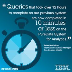 Visit the Expert Integrated Systems Blog to read more about how Two Degrees Mobile experienced a 40 percent improvement in time required for data loads using IBM PureData System for Analytics.