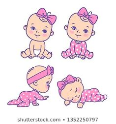Cute little girl icon set. Collection of vector stickers of little baby girl in pink pajamas, bow, diaper. Emblem of kid health. Baby Cartoon Drawing, Baby Girl Drawing, Girl Cartoon, Clipart Baby, Little Baby Girl, New Baby Girls, Art Drawings For Kids, Cute Drawings, Native Drawings