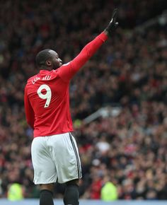 Romelu Lukaku of Manchester United celebrates scoring their first goal during the Premier League match between Manchester United and Swansea City at Old Trafford on March 2018 in Manchester,. Premier League Champions, European Cup, Manchester United Football, Premier League Matches, Old Trafford, Europa League, Swansea, Scores, Beautiful Men
