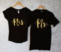 Mr. & Mrs. Matching Couple T-shirts Black Set of 2