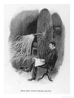 size: Giclee Print: Nikola Tesla Serbian Inventor Seated Beside His Wireless Telegraphy Apparatus by Warwick Goble : Artists Warwick Goble, Nicolas Tesla, Art For Sale Online, Serbian, Original Image, Vintage Prints, Find Art, Giclee Print, Lion Sculpture