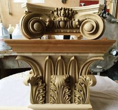 Two classic Capitals: The smaller capital is commonly known as the Italian Renaissance Ionic Scamozzi Capital while the larger bottom Capital is a Greek Corinthian Winds Capital.The 16th-century Renaissance architect and theorist Vincenzo Scamozzi designed a version of such a perfectly four-sided Ionic capital that Scamozzi's version became one of the standards. With its single row of acanthus leaves surrounding a single row of palm leaves, the Winds capital is a simplified version of the…