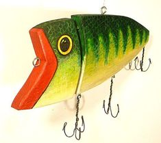 Recycled Wood Fishing Lure Painted Art by CurioBay on Etsy Fishing Shack, Bass Fishing, Wood Shop Projects, Vintage Fishing Lures, Wood Fish, Ceramic Fish, Carving Designs, Nautical Art, Backyard Projects