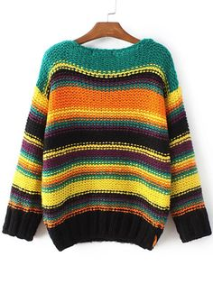 Multicolor Striped Boat Neck Sweater -SheIn(abaday)