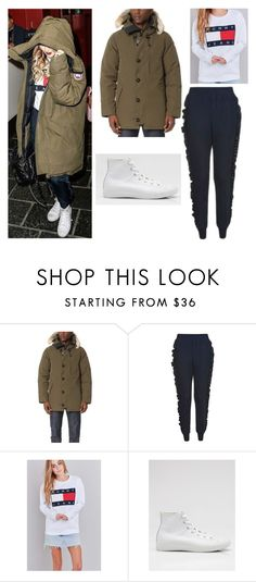 """""""Perrie Edwards"""" by little-mixoutfits ❤ liked on Polyvore featuring Canada Goose, Topshop, Tommy Hilfiger and Converse"""