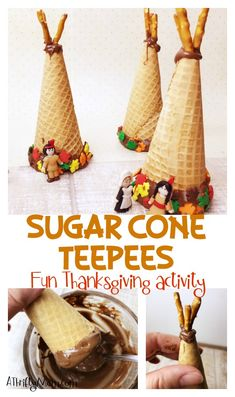 Make these Sugar cone teeppee, Thanksgiving activity for the whole family. Teach about the first Thanksgiving and have fun at the same time. Thanksgiving Activities For Kids, Easy Thanksgiving Recipes, Thanksgiving Projects, Thanksgiving Traditions, Thanksgiving Treats, Kid Activities, Holiday Treats, Oreo Dessert, Mini Desserts