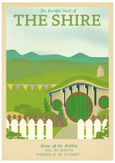Retro Travel Poster Series - The Lord of the Rings - The Shire Art Print