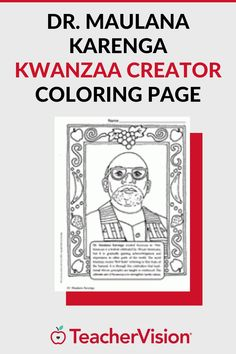 Coloring book page with picture of Dr. Maulana Karenga. He is the creator of Kwanzaa, the African-American holiday that celebrates African ancestry, traditions, and culture. You can also use this worksheet during Black History Month (February).