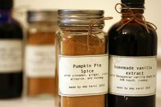 homemade Pumpkin Pie Spice and Vanilla Extract