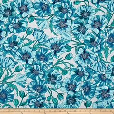 Robert Kaufman In the Bloom Large Flowers Turquoise from @fabricdotcom  Designed by Valori Wells for Robert Kaufman