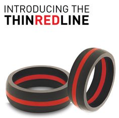 Firefighters Thin Red Line Titanium Wedding Band Promise Ring