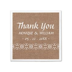 Rustic Calligraphy Ornate Burlap Wedding Thank You Standard Cocktail Napkin