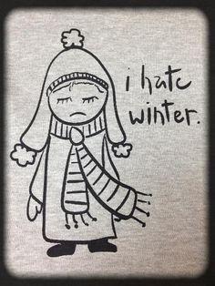 I hate Winter Hand Screen printed Jersey scarf original art hand drawn hand printed