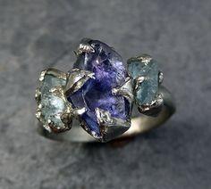 Raw Tanzanite Aquamarine White Gold ring by byAngeline on Etsy