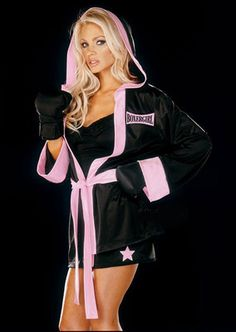 Dream Girl Sexy Boxer Girl Costume Complete with Boxing Gloves Black Pink M | eBay