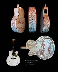 Veronica Lake guitar ©2009 Kore Flatmo, PluraBella, Veronica Lake portrait, Gretsch guitar, pyrography