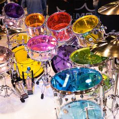 All of the beautiful colors of the rainbow from the Remo Colortone Series drumheads at Music Aesthetic, Aesthetic Photo, Drums Art, Guitar Art, Jem And The Holograms, Drum Kits, Girl Bands, Music Stuff, Wall Collage