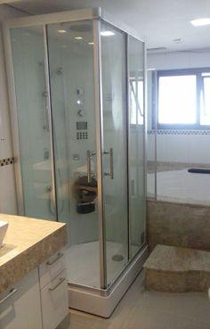 Cabine de Banho Cielo da Unique SPA instalada em reforma da sala de banho de apartamento!  www.uniquespa.com.br
