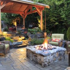 Outdoor living with fire pit and stamped concrete