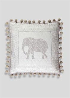 Pom Pom Trim Elephant Cushion (40cm x 40cm)