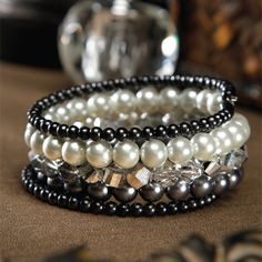 Darice Jewelry Projects - Pearl and Crystal Memory Wire Bracelet. Download instructions at www.darice.com #DIY #jewelry