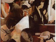 Bepi Romagnoni, Racconto 1964, olio e collage su tela