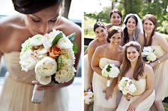 Lush peach and ivory peony, rose, and hydrangea bridesmaid bouquet/Liz Maryann Photography