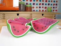 This is so cute & looks really easy to do....Making watermelon melt and pour soap