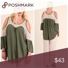 PLUSNEWAdorable Olive Top Olive Cold Shoulder top with Lace Details dals_boutique Tops