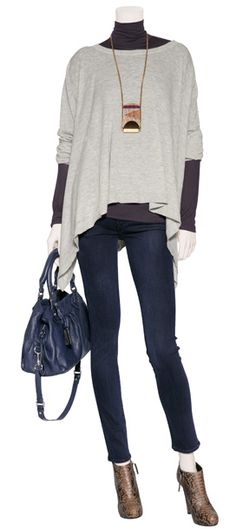 Weekend layered perfection.  Skinny jeans from Seven, ankle booties, DKNY top and a turtleneck.