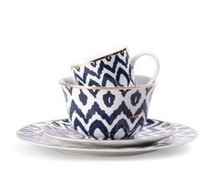 beautiful navy ikat dinnerware