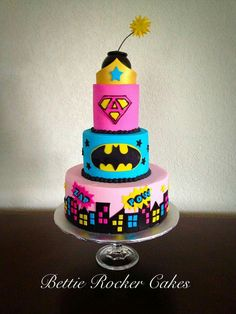 Bat girl Batman Cake for Girl - Her Pink Teal Super Girl Superhero Bettierockercakes.blogspot.com San Antonio, TX