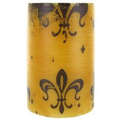 "Universal Candle Company 4"" x 6"" Gold & Brown Fleur-De-Lis Pillar Candle 
