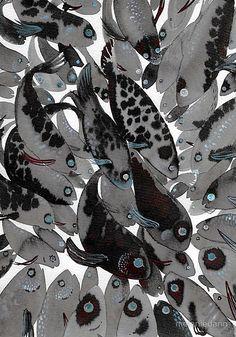 feeding fish art print by melanie dann @redbubble