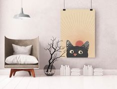 Abstract Sun Printable, Cat Portrait Print Cat Posters, Burnt Orange, Midcentury Modern, Mid Century, Wall Decor, Boho, Abstract, Cats, Home Decor