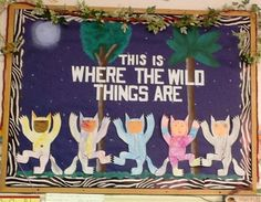 Where the Wild Things Are bulletin board with painted background