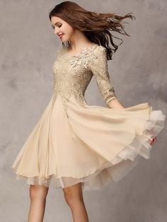 Elegant Round Neck Lace Pure Casual-dress