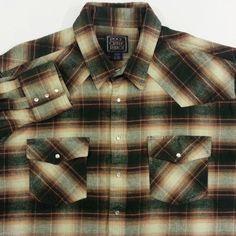 Pearl Snap Flannel Shirt Barn Jacket 3XLT Mens Plaid Brown Green Western Cowboy #Work #Casual #Western #ArtieBobs #MensFashion ArtieBobs.com