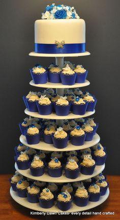 Royal Blue Wedding Cake. Cake and Cupcakes are Lemon Cake with Vanilla Italian Buttercream
