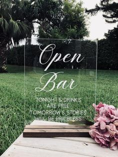Open bar Acrylic signs and stands Cards and Gifts Sign, glass wood holders Wedding Used Decor stuff Spring Winter Summer Fall reception Wedding Signage, Rustic Wedding, Our Wedding, Dream Wedding, Wedding Advice, Summer Wedding, Cricut Wedding, My Perfect Wedding, Wedding Calligraphy