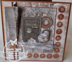 "Industrial lijn ""Happ y adhtriB"" Studio Lighting, Industrial, Stampin Up, Frame, Gentleman, Cards, 3d, Man Card, Basteln"