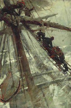 "shear-in-spuh-rey-shuhn: "" FRANK BRANGWYN Wrecked, The Last Resource Oil on Canvas 30"" x 20"" """