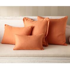 Wisteria - Accessories - Shop by Category - Throw Pillows - Linen Pillow - Persimmon Flanged - $49.00