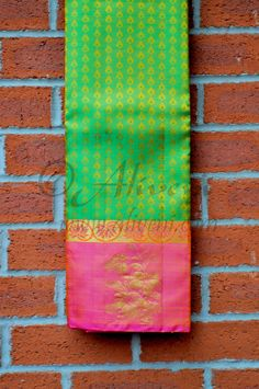 Green Kancheepuram Pattu Saree with Pink Floral Border Phulkari Saree, Kasavu Saree, Kanchipuram Saree, Bandhini Saree, Velvet Saree, Party Sarees, Saree Trends, Black Saree, Soft Silk Sarees