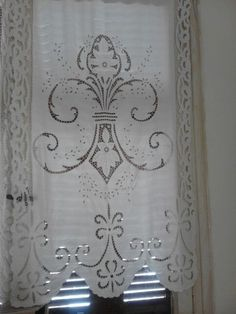 Border Embroidery Designs, Cutwork Embroidery, White Embroidery, Vintage Embroidery, Embroidery Patterns, Purple Curtains, Floral Curtains, Diy Curtains, Layered Curtains